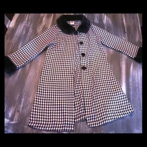 Girls Faux Fur Houndstooth Formal Coat Black White